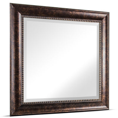 Hartley Medium Square Oil Rubbed Textured Accent Framed Beveled Wall Vanity Mirror