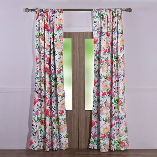 Barefoot Bungalow Blossom 2-Pack Rod-Pocket Curtain Panel