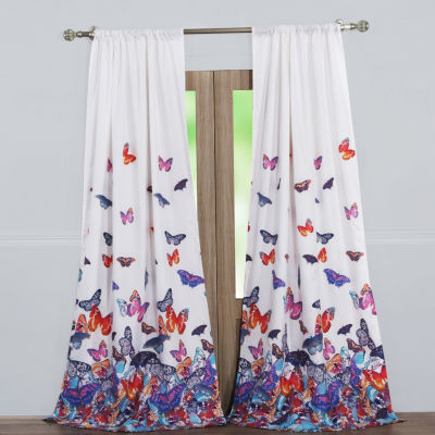 Barefoot Bungalow Mariposa 2-Pack Rod-Pocket Curtain Panel