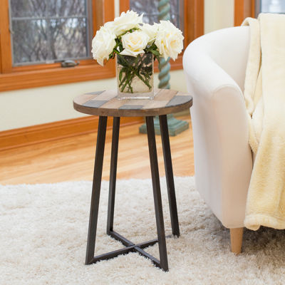 FirsTime Miller Rustic Wood Round End Table