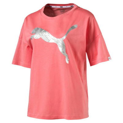 Puma Short Sleeve Round Neck Logo T-Shirt-Womens