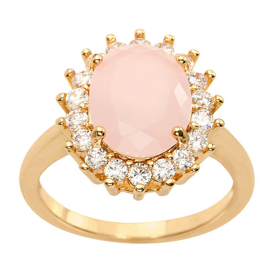 Sparkle Allure Clear Cz  And Light Rose Opaque Large Oval Crystal Stone Womens Pink Crystal 14K Gold Over Brass Cocktail Ring