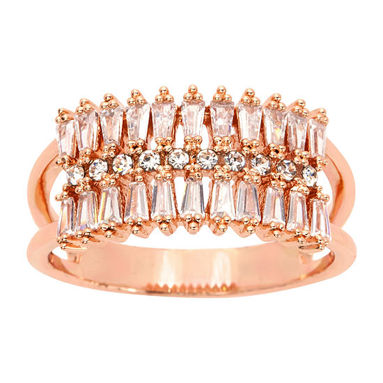 Sparkle Allure Clear Cz And Crystal Wide Band Womens Crystal 14k Rose Gold Over Brass Cocktail Ring