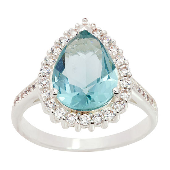Sparkle Allure Clear Cz  And Pear Shaped Light Blue Crystal Stone With Halo Womens Blue Crystal Pure Silver Over Brass Cocktail Ring