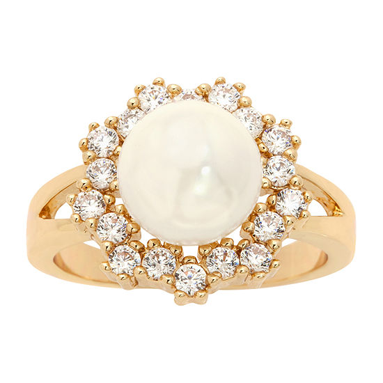 Sparkle Allure Womens White 14K Gold Over Brass Flower Cocktail Ring