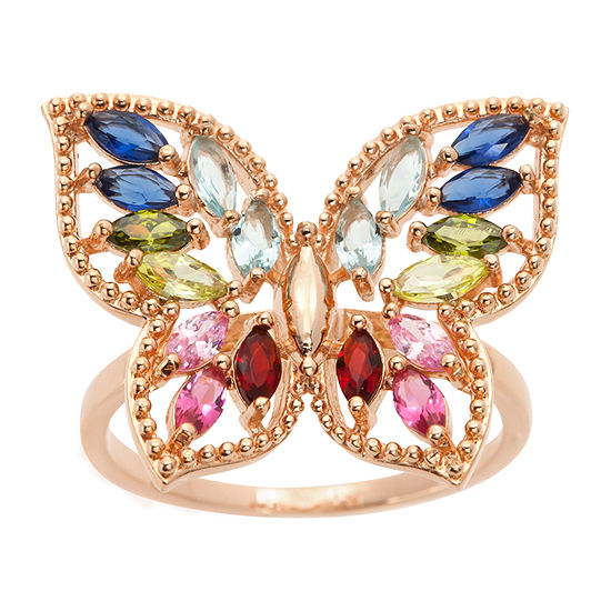 Sparkle Allure Womens Multi Color Crystal 14k Rose Gold Over Brass Butterfly Cocktail Ring