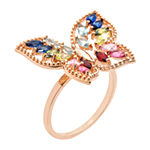 Sparkle Allure Crystal 14k Rose Gold Over Brass Butterfly Cocktail Ring
