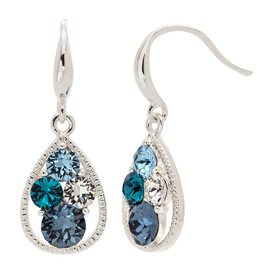 Sparkle Allure Pure Silver Over Brass Blue Crystal Drop Earrings Made With Swarovski Elements