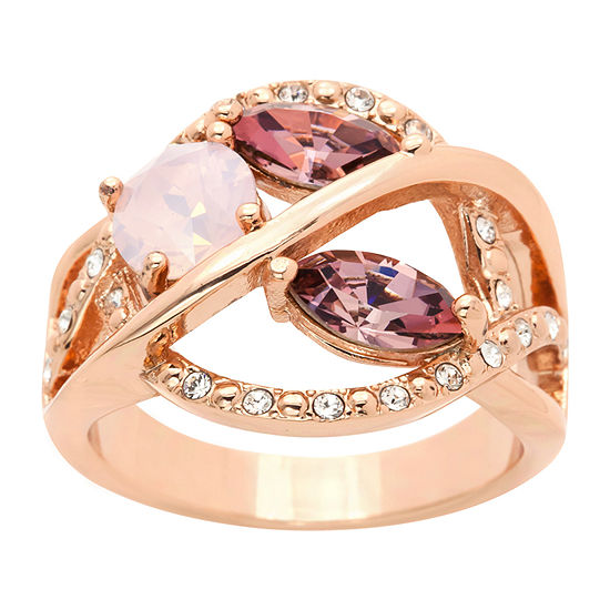Sparkle Allure 14k Rose Gold Over Brass Pink Crystal Cocktail Ring Made With Swarovski Elements