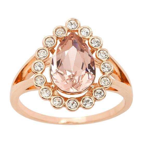 Sparkle Allure Crystal 14k Rose Gold Over Brass Cocktail Ring