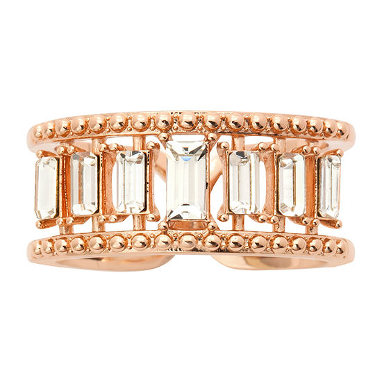 Sparkle Allure Womens Pink Crystal 14k Rose Gold Over Brass Cocktail Ring