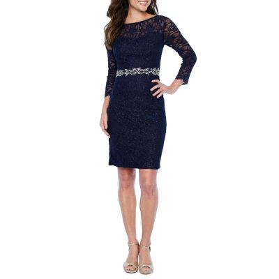 Jackie Jon 3/4 Sleeve Beaded Glitter Lace Sheath Dress