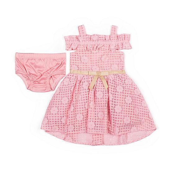 Little Lass Girls Short Sleeve A-Line Dress - Baby