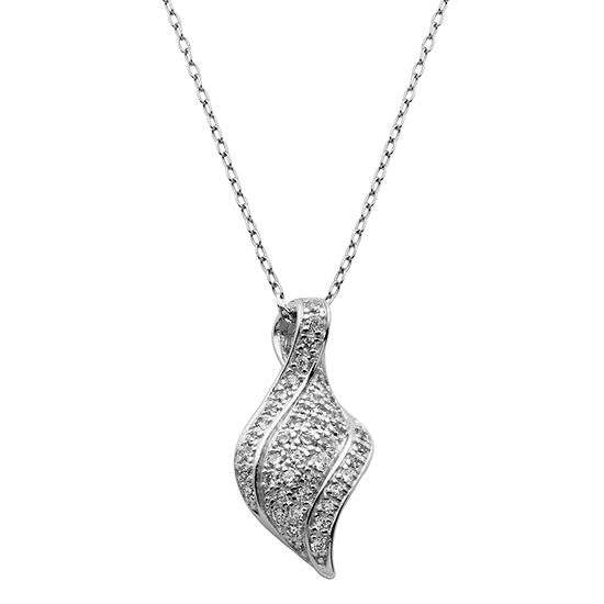 Womens 1/4 CT. T.W. White Cubic Zirconia Sterling Silver Pendant Necklace