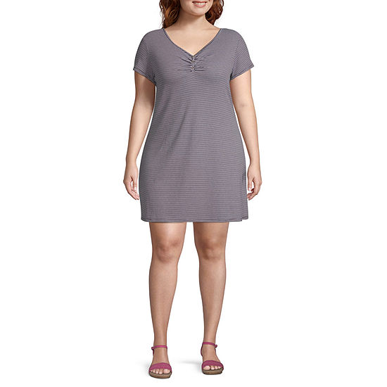 Arizona Short Sleeve Striped T-Shirt Dresses - Juniors Plus
