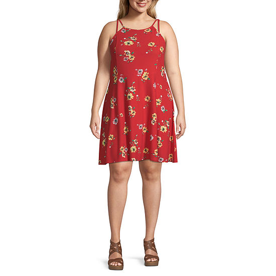 Arizona-Juniors Plus Sleeveless Floral Fit & Flare Dress