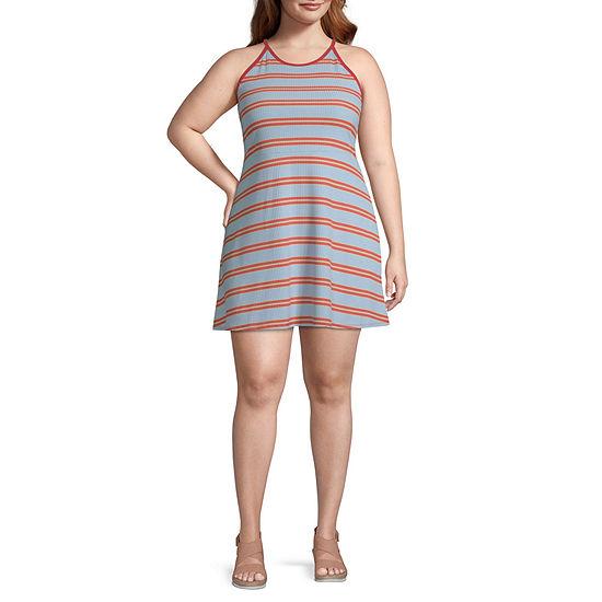 Arizona Short Sleeve Striped Fit & Flare Dress-Juniors Plus