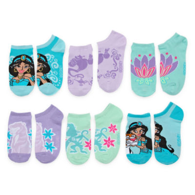 Girls 6 Pair Aladdin No Show Socks
