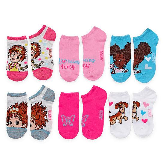 Little Kid Girls 6 Pair Fancy Nancy No Show Socks - Size 6-8.5
