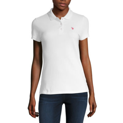 Us Polo Assn. Womens Collar Neck Short Sleeve Polo Shirt Juniors