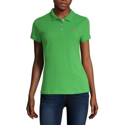 Us Polo Assn. Womens Short Sleeve Knit Polo Shirt Juniors