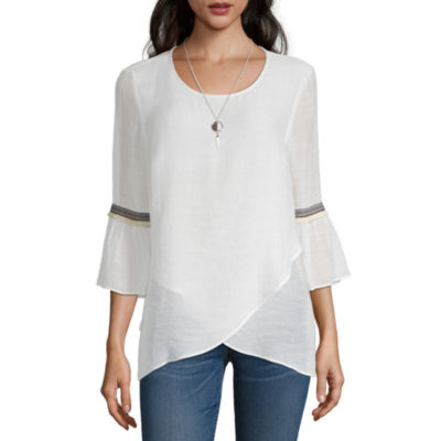 Alyx Womens Round Neck 3/4 Sleeve Blouse