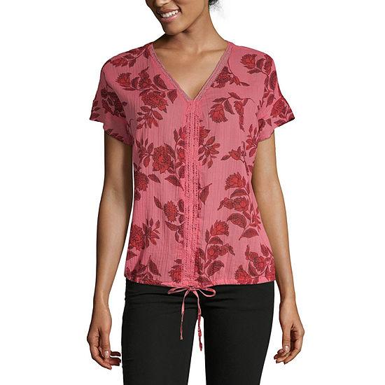 Liz Claiborne Womens V Neck Short Sleeve Floral Blouse
