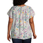 St. John's Bay-Plus Womens Round Neck Short Sleeve Blouse