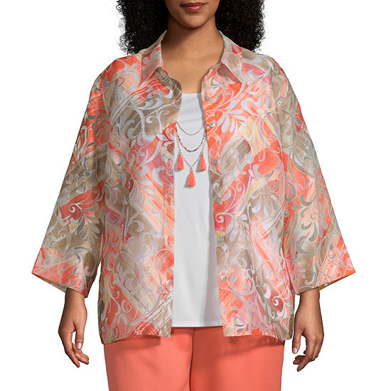 Martinique Alfred Dunner Scroll Burnout Twofer Plus