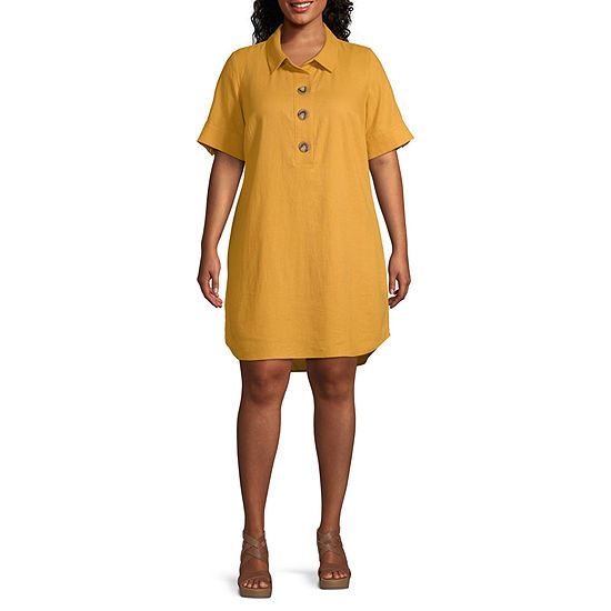 a.n.a-Plus Short Sleeve Shirt Dress