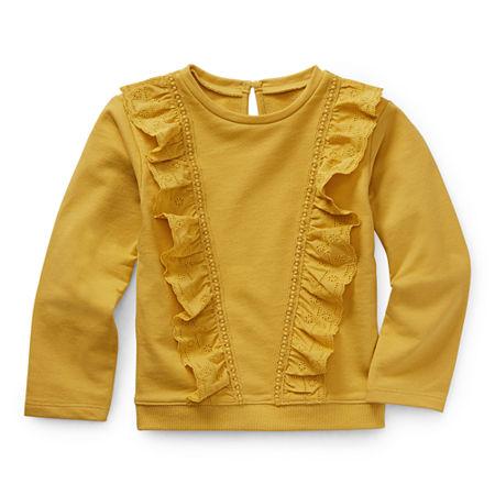 Okie Dokie Toddler Girls Round Neck Long Sleeve Sweatshirt, 5t , Yellow