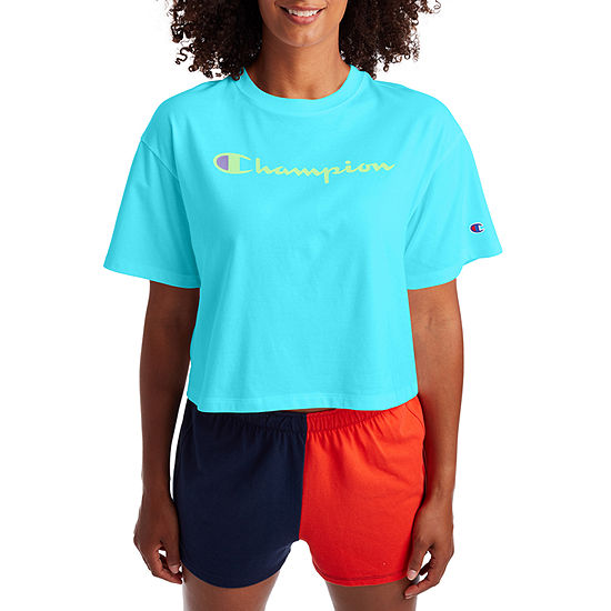 Champion Womens Crew Neck Short Sleeve Crop Top