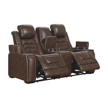 Signature Design by Ashley Game Zone Power Reclining Loveseat with Console, One Size , Brown