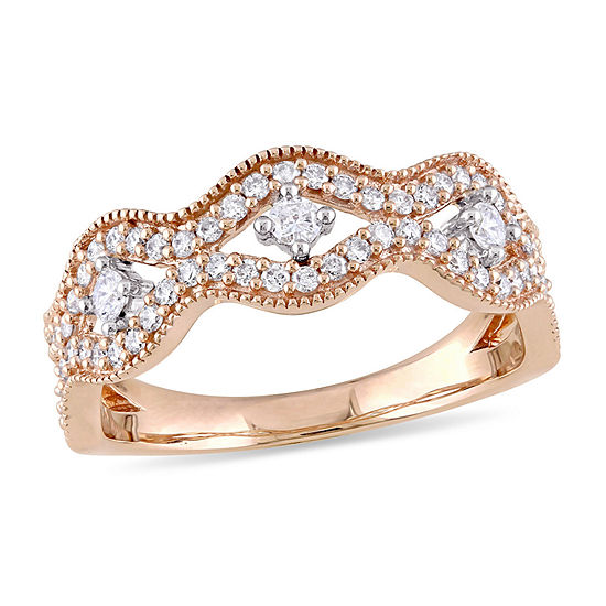 Laura Ashley Laura Ashley Womens 1/2 CT. T.W. Genuine White Diamond 10K Two Tone Gold Engagement Ring
