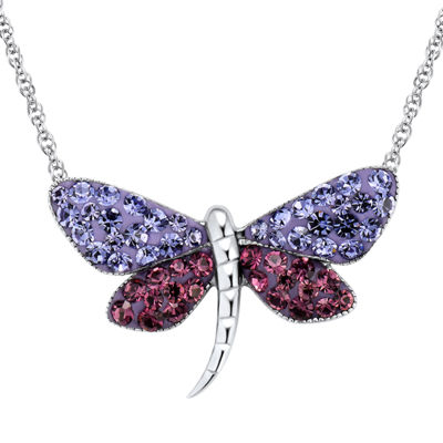 Sterling Silver Blue & Purple Crystal Dragonfly Pendant Necklace