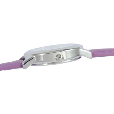 Disney Time Teacher Minnie Mouse Kids Purple Leather Strap Watch