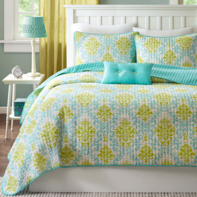 Mi Zone Paige Damask Coverlet Set