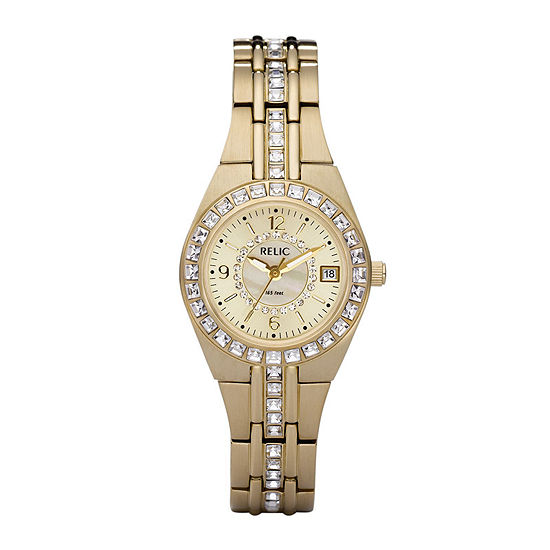 Relic By Fossil Womens Gold Tone Bracelet Watch Zr11778