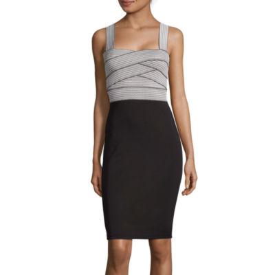 Spense Sleeveless Stripe Bodycon Dress