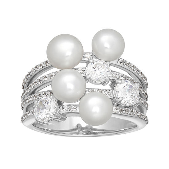 Certified Sofia Bridal Cultured Freshwater Pearl Swarovski Cubic Zirconia Sterling Silver Ring