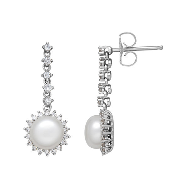 Certified Sofia™ Bridal Cultured Freshwater Pearl & Certified Sofia™ Cubic Zirconia Earrings