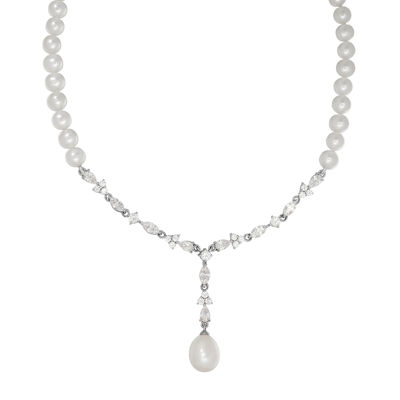 Certified Sofia™ Bridal Cultured Freshwater Pearl & Swarovski® Cubic Zirconia Silver Necklace