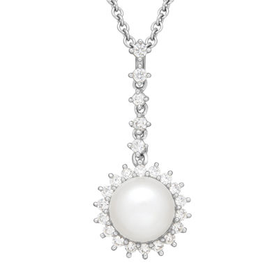 Certified Sofia™ Bridal Cultured Freshwater Pearl & Certified Sofia™ Cubic Zirconia Pendant