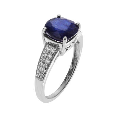 Color-Enhanced Blue Sapphire and Genuine White Topaz Sterling Silver Ring