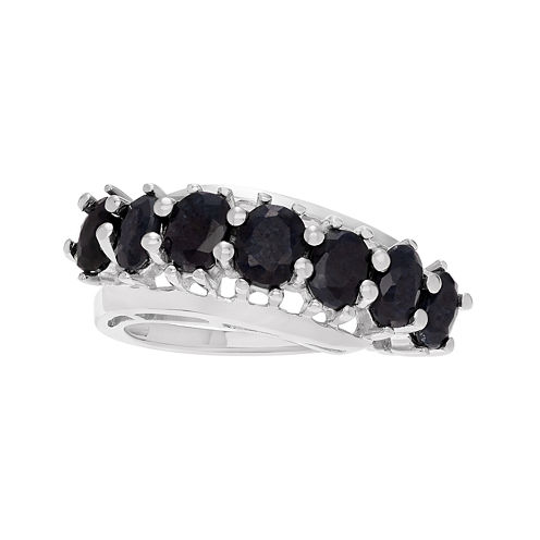Color-Enhanced Black Sapphire Sterling Silver Ring