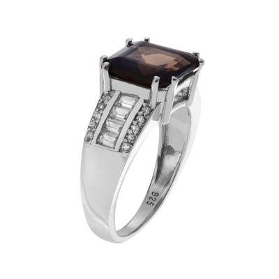 Genuine Smoky and White Topaz Sterling Silver Ring