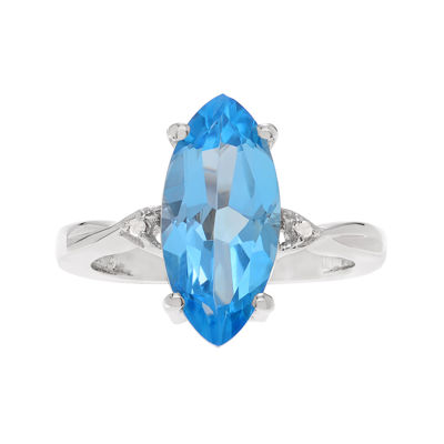 Genuine Blue Topaz and 1/10 CT. T.W. Diamond Sterling Silver Ring