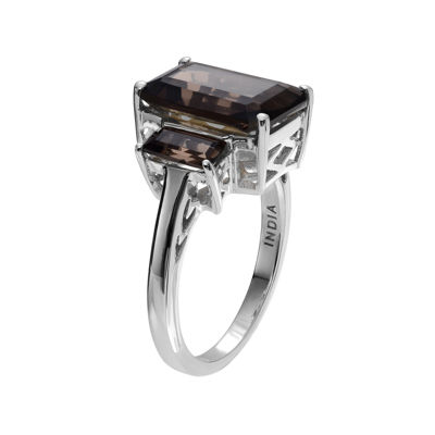 Genuine Smoky Topaz 3-Stone Sterling Silver Ring