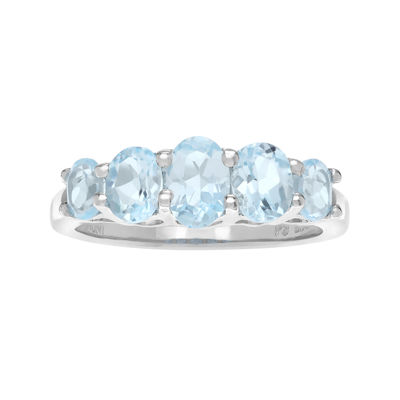 Genuine Blue Topaz 5-Stone Sterling Silver Ring