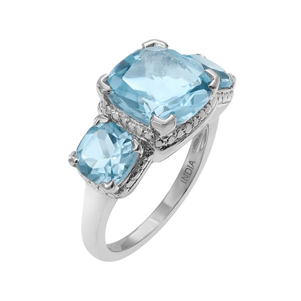 Genuine Blue and White Topaz 3-Stone Sterling Silver Ring